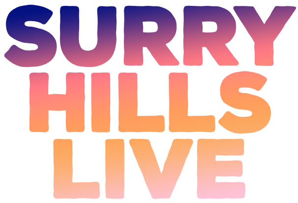 Surry Hills LIVE logo in orange & purple